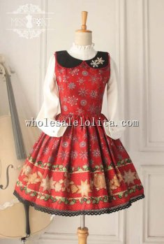 Vintage Christmas Red Printing Peterpan Collar Sweet JSK Lolita Dress