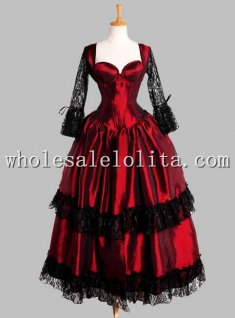 Gothic Black and Red Thai Silk and Lace Victorian Inspired Dress Vampire Ball Gown