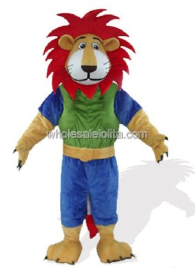 Green And Blue Leo With Red Hair Plush Lion Mascot