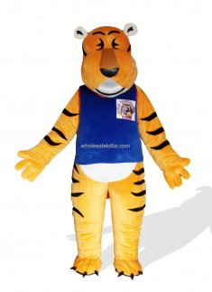 Tiger In Blue Sport Suit Plush Adult Mascot Costume