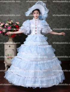 Sky Blue Lace Vampire Masquerade Ball Dress Civil War Southern Belle Ball Gown Marie Antoinette 18th Century Costume