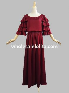 Edwardian Four Tiered Sleeve Flowing Chiffon Silky Gown Period Dress Reenactment