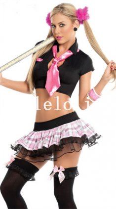 Halloween Two-piece Sexy Adult School Girl Halloween Costume Dress