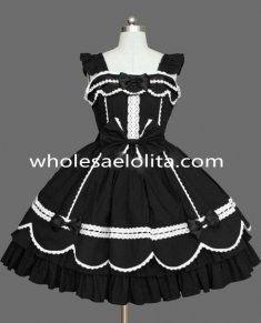 Black and White Cap Sleeves Gothic Lolita Dress Clothings