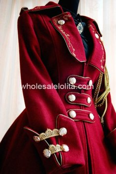 Wine Red Lapel Collar Army Uniform Style Winter Lolita Coat