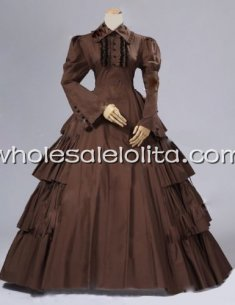 Vintage Umber Victorian Inspired Period Dress Reenactment Theatre Costume