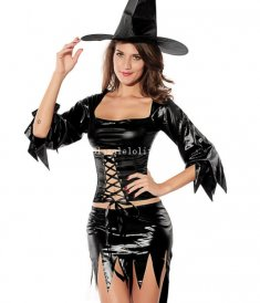 Sexy Black PU Adult Witch Halloween Costume Masquerade Party Dress