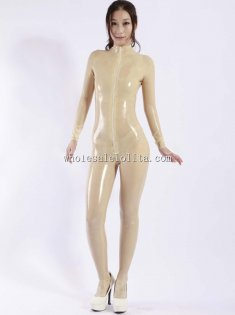 One Piece Zipper Women's Latex Catsuits