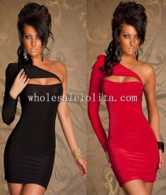 One-Shoulder Long Sleeves Bodycon Club Dress