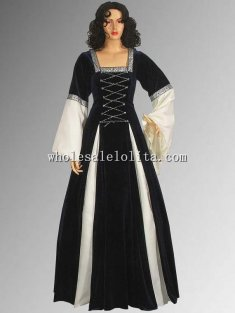 Renaissance Gothic Style Black and White Velvet Dress Multiple Colors Available