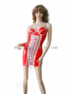 Front Lace Up Red and White Shoulder Straps Latex Dress