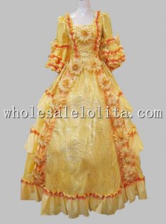 European Court 17 18th Century Golden Marie Antoinette Era Rococo Style Ball Gown