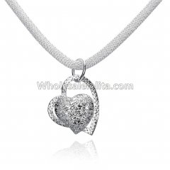 Fashionable Platinum Necklace with Cross Heart Pendant for Versatile Occasions
