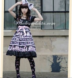 Black Empire Waist Adorable Printing Sweet Lolita Dress
