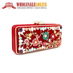 Pure Manual Nail Bead Dress Bag Handbag Wedding Red Dinner Ladies Bags
