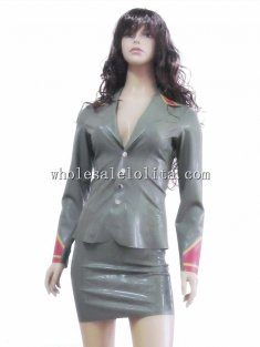 Female Two Piece Latex Military Uniform Suits