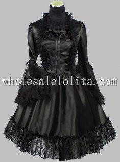 Long Sleeves Black Lace Up Silk-like Gothic Lolita Dress