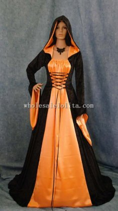 Gothic Black and Orange Vampire Medieval Renaissance Halloween Hooded Dress