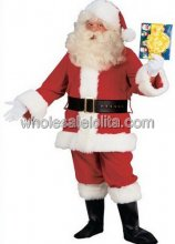 Traditional Plush Santa Claus Costume for Sale