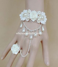 Sweet Princess Pure White Pearl Rose Bride Bracelet & Ring