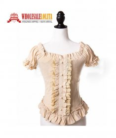 Victorian Romantic Gothic Steampunk Punk Puff Sleeve Ruched Blouse Top Shirt Halloween Costume
