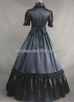 19th Century Black Satin Gothic Victorian Dress Halloween Masquerade Ball Gown