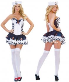 Halloween Sexy Chest Wrap Ladies Sailor Cosplay Costume Bubble Dress