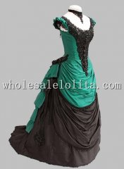 1880s Gothic Black and Green Cotton and Lace Victorian Bustle Period Dress Ball Gown