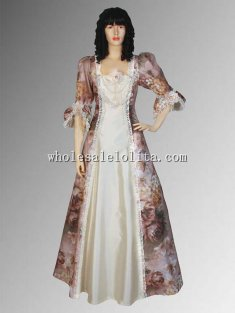 Custom Made Spring Renaissance Medieval Floral Summer Gown Handmade