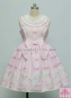 Lovely Cats & Bows Printing Sweet JSK Lolita Party Dress