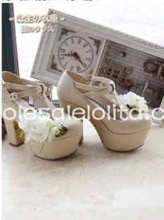 Sweet Princess Series 10cm Chunky High Heels Beige/Plum Lolita Shoes