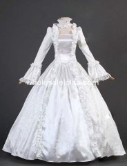 18th Century White Satin Brocade Marie Antoinette Period Dress Wedding Dress Ball Gown