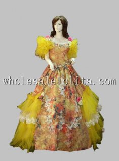 Vintage European Court Sissi Princess Cosplay Dress Yellow Floral Prom Dress