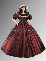 19th Century Burgundy Victorian Civil War Wide Dress Ball Gown with Wide Skirt Multiple Colors Available
