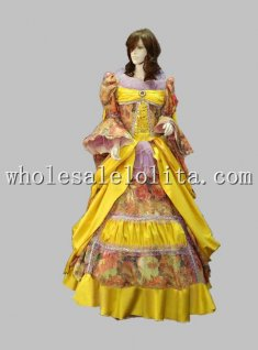 Vintage 17 18th Century Rococo Yellow Marie Antoinette Period Dress Celebrity Dress