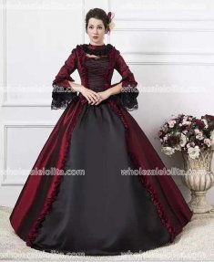 Burgundy Georgian Victorian Gothic Period Dress Masquerade Ball Gown Reenactment Gown