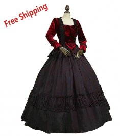 FreeShipping High Quality Civil War Dress Victorian Velvet 2PC Gown Vampire Theatre Halloween Costume