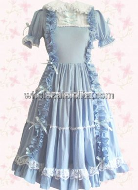 Best Seller Sky Blue Cotton Sweet Lolita Dress with Short Sleeves