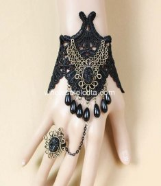 Gothic Retro Court Black Lace Drop-shaped Pearl Bracelet & Ring