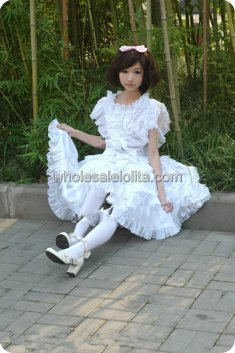 High Quality Pearl Chiffon Sweet White Ruffles Bow Lolita Dress