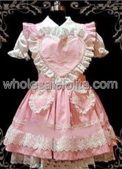 Pink Short Sleeves Sweetheart Lace Cotton Sweet Lolita Dress