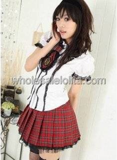 White and Red Shool Girl Sexy Uniform