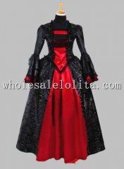 Historical Black and Red Brocade Satin Gothic Victorian Dress Halloween Masquerade Ball Costume