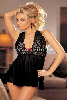 Mid-night Queen Lace Halter Sexy Chemise
