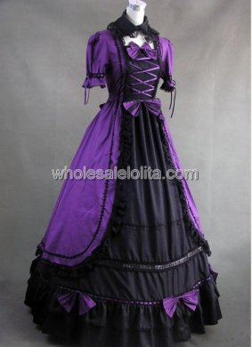 Gothic Violet and Black Cotton Victorian Prom Dress Halloween Masquerade Ball Gown