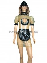 Sexy Transparent Natural and Black Latex French Maid Uniform Dress
