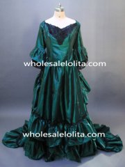 Gothic Green & Black Lace Antoinette Style Bodice Victorian Bustle Dress Fantasy Gown