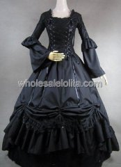 Black Cotton Gothic Victorian Lolita Renaissance Period Dress Halloween Party Gown
