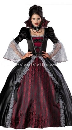 Gothic Queen Vampire Halloween Costume Ball Gown