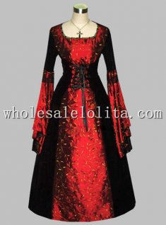 Gothic Black and Red Thai Silk Print Medieval Dress Gown Theatre Costume